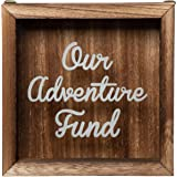 Genie Crafts Wooden Shadow Box Bank, Our Adventure Fund (7.1 x 1.8 Inches)