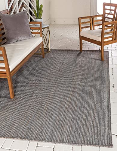 Unique Loom Braided Jute Collection Hand Woven Natural Fibers Dark Gray Area Rug 9 0 x 12 0