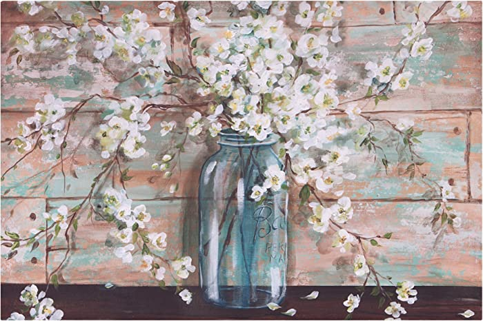 "Patton Wall Decor Blooms in Mason Jar Floral Art, 24"" x 36"" Wrapped Canvas, 24 x 36 Inch, Light Blue"