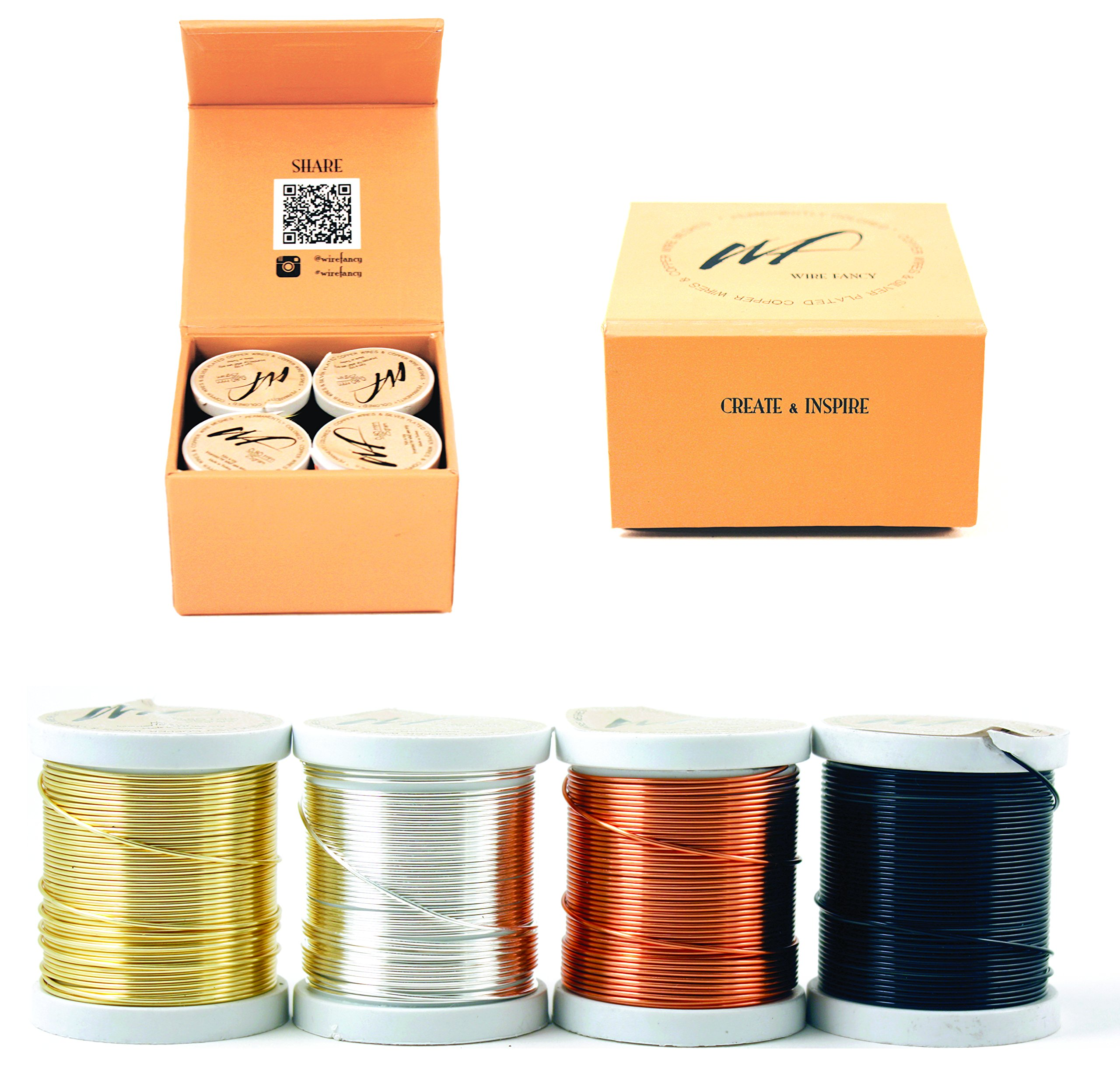 20 Gauge Tarnish Resistant Silver-Plated Copper and Copper Wire Set of 4 spools for Wrapping Jewelry Making Beading Floral Colored DIY Artistic Craft Coil Wire kit (WF Color Set 1, 0.80 mm) by Wire Fancy