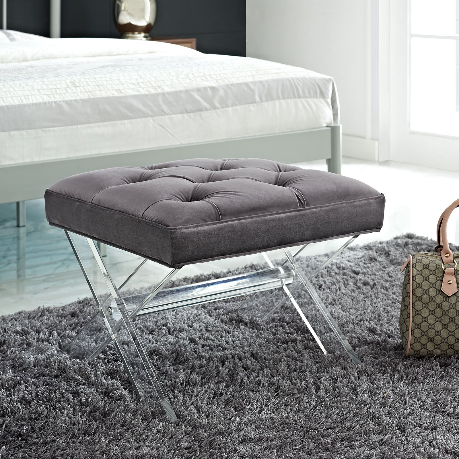 Modway Swift Acrylic X-Base Entryway Modern Bench With Tufted Fabric Upholstery in Gray