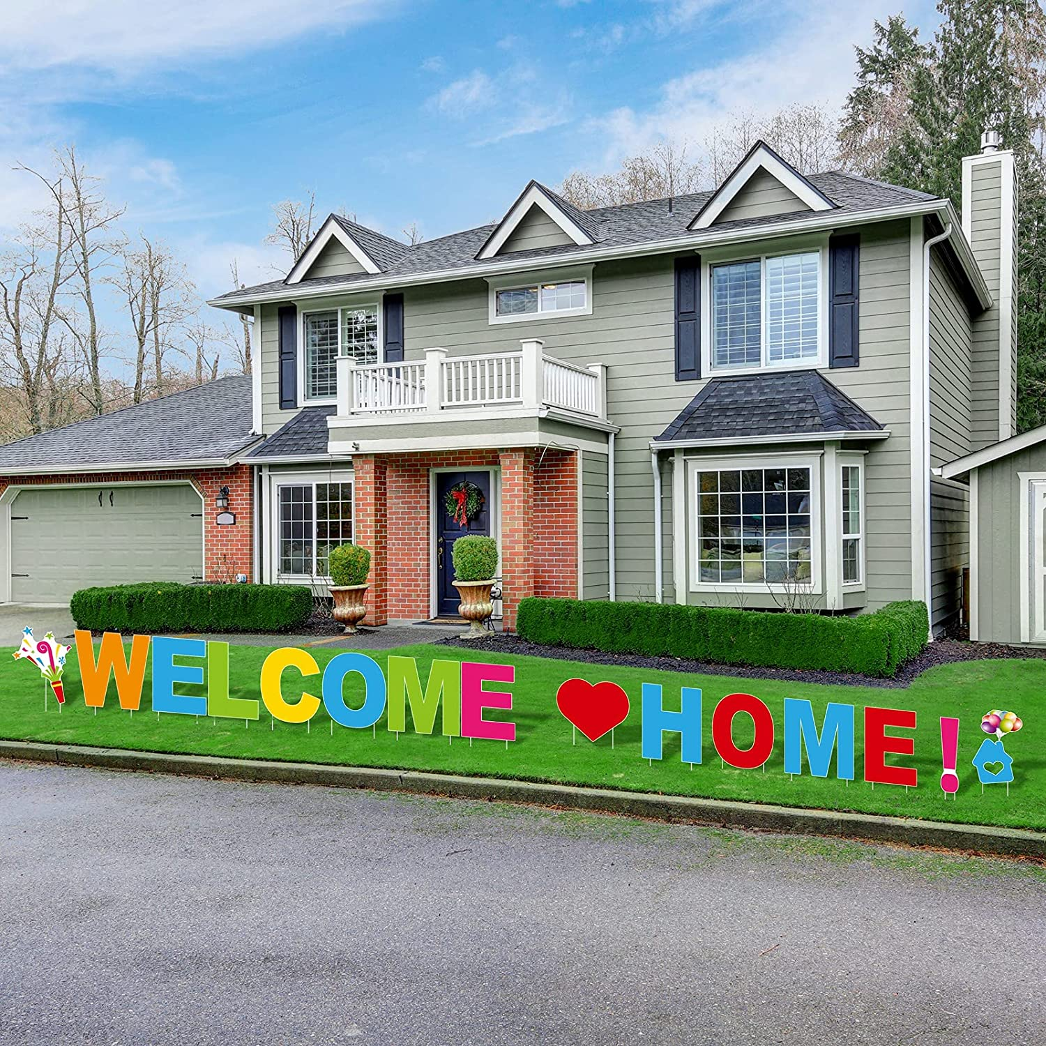 RUODON Welcome Home Yard Signs 18 Inches Tall Welcome Home Yard Signs with Stakes Welcome Home Letters Outdoor Lawn Decorations Colorful Welcome Home Letters Yard Signs Lawn Sign Party Decorations