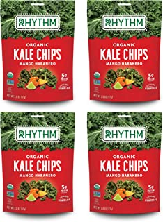 product image for Rhythm Superfoods Kale Chips, Mango Habanero, Organic and Non-GMO, 2.0 Oz (Pack of 4), Vegan/Gluten-Free Superfood Snacks