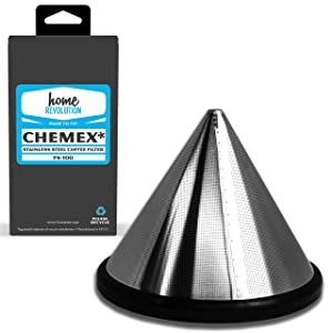 Home Revolution Reusable Stainless Steel Cone Coffee Filter, Fits Chemex 6, 8, & 10 Cup Coffee Makers, Hario V60 Drippers, & Bodum 8 Cup Brewer