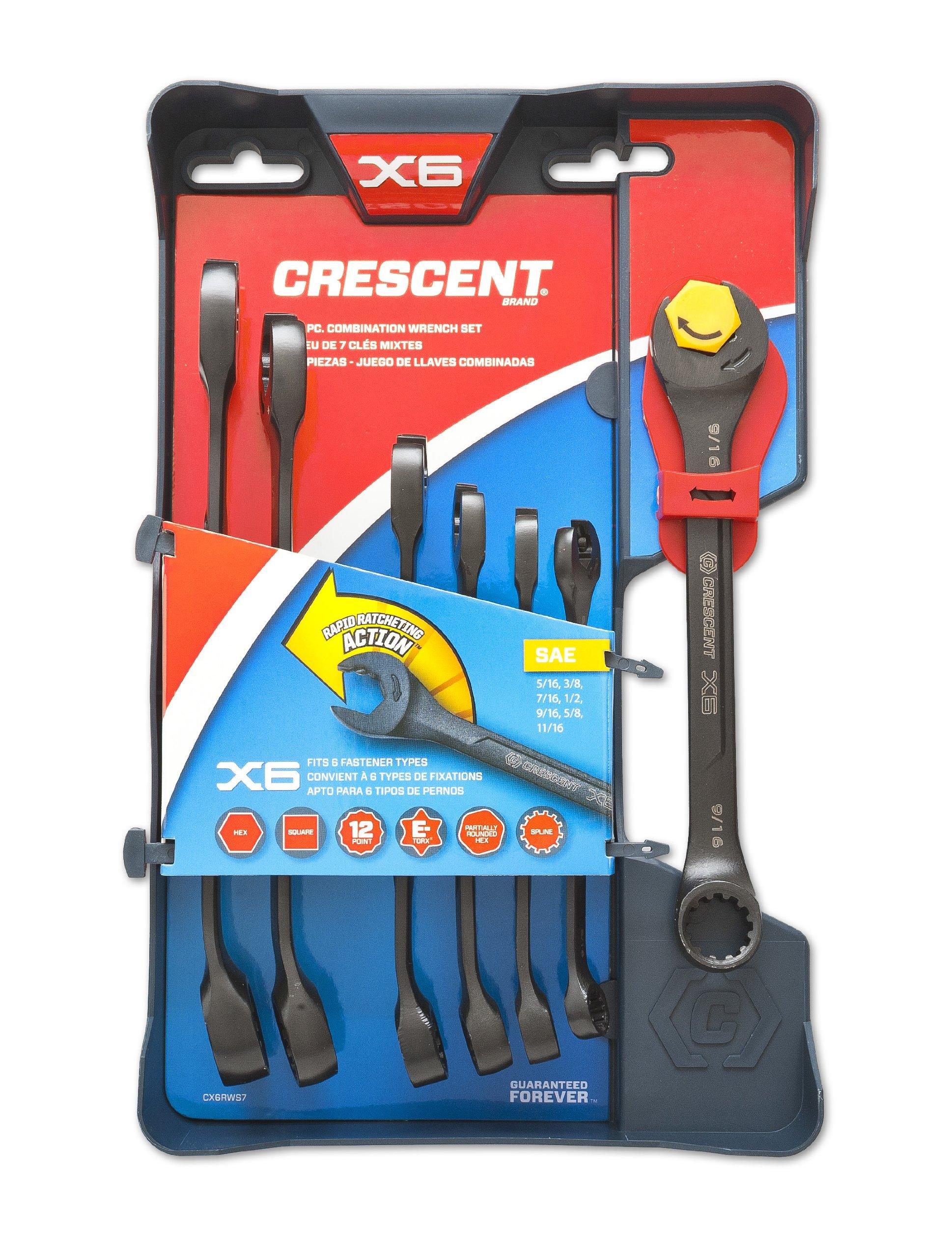 Crescent 7 Pc. X6 Black Oxide Spline Open End Ratcheting Combination SAE Wrench Set - CX6RWS7 by Crescent