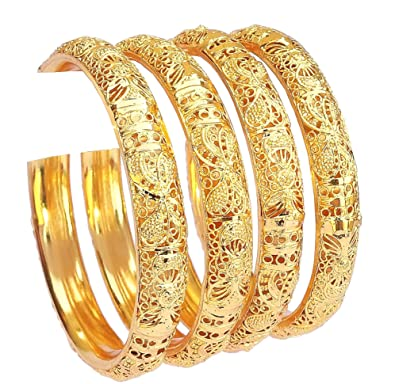 Engagement & Wedding Learned Traditional Ethnic Goldtone 2pc Bangle Set Women Bracelet Indian Party Jewellery