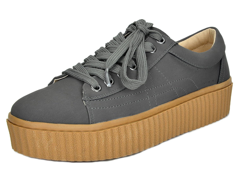 TOETOS Women's REINNA-01 Lace up Platform Sneakers Shoes B01NCPF40U 6 B(M) US|Grey