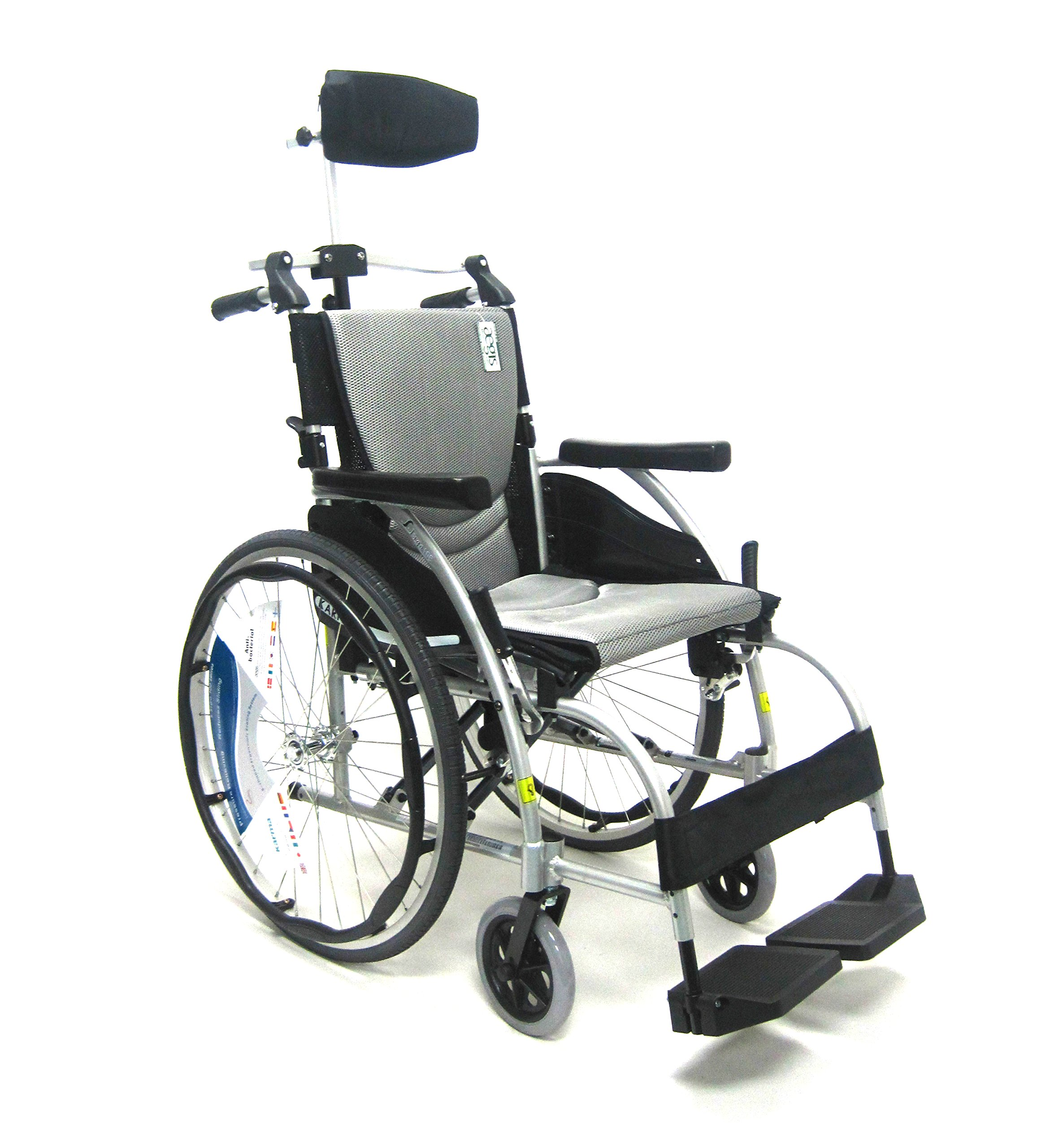 Karman Healthcare 27 Pounds S-106 Adjustable Back Recline Wheelchair with Headrest, Pearl Silver, 27 Pound