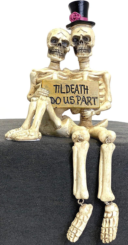 JWM Skeleton Couple Til Death Do Us Part Halloween Shelf Sitter Figurine