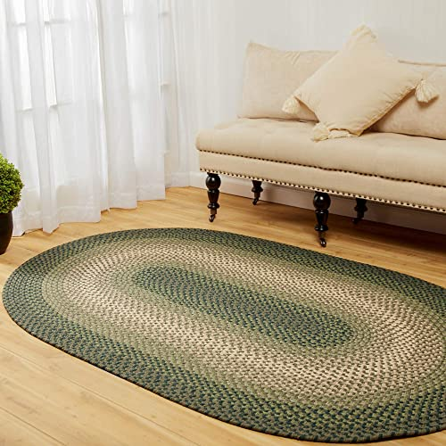 Super Area Rugs 5 x 8 Oval Braided Rug Pinecrest Indoor Outdoor PC22 Green Multi Braided Carpet for High Traffic Kitchen