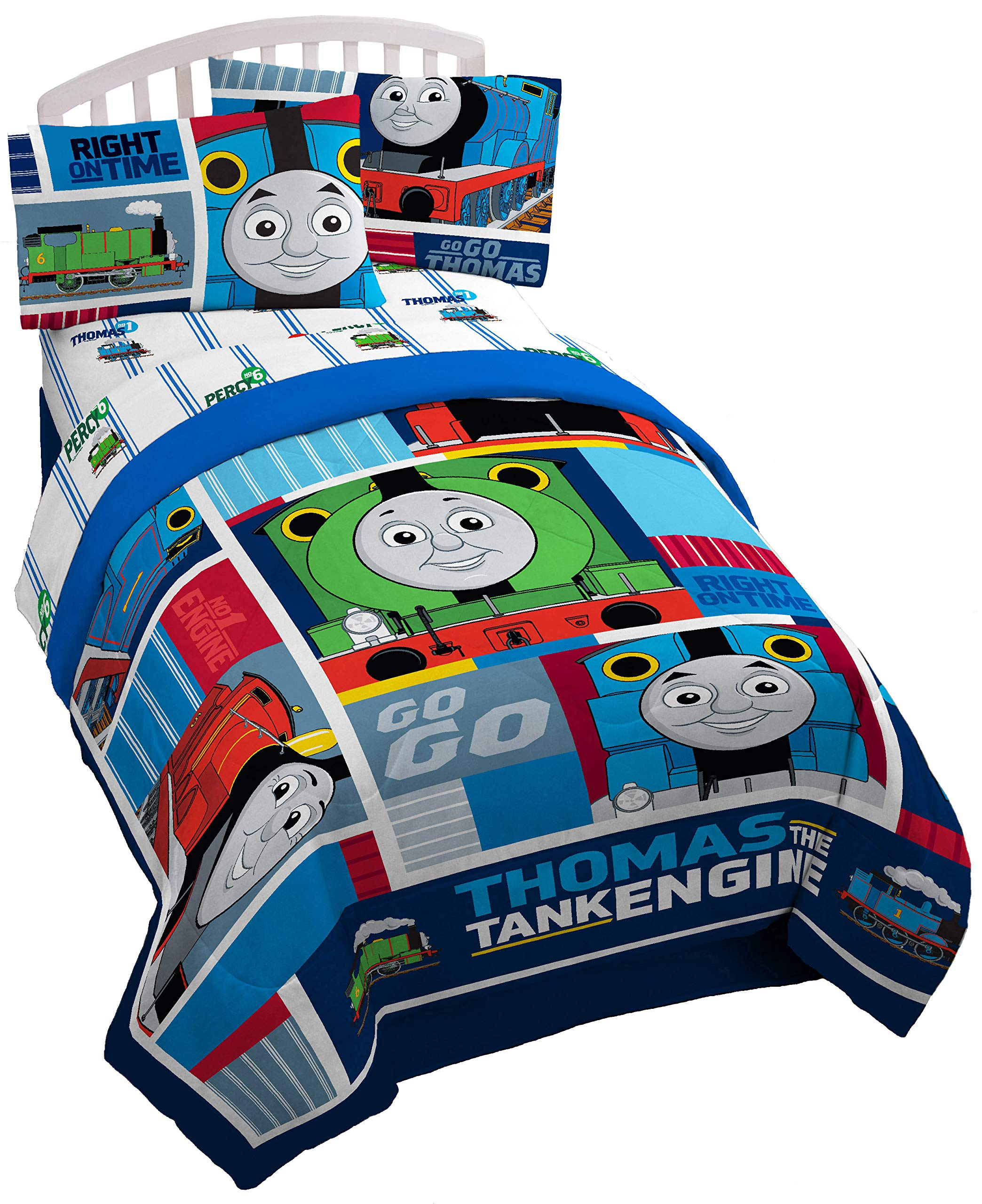 Mattel Thomas The Tank Engine Fun 72'' x 86'' Reversible Twin/Full Reversible Comforter by Jay Franco