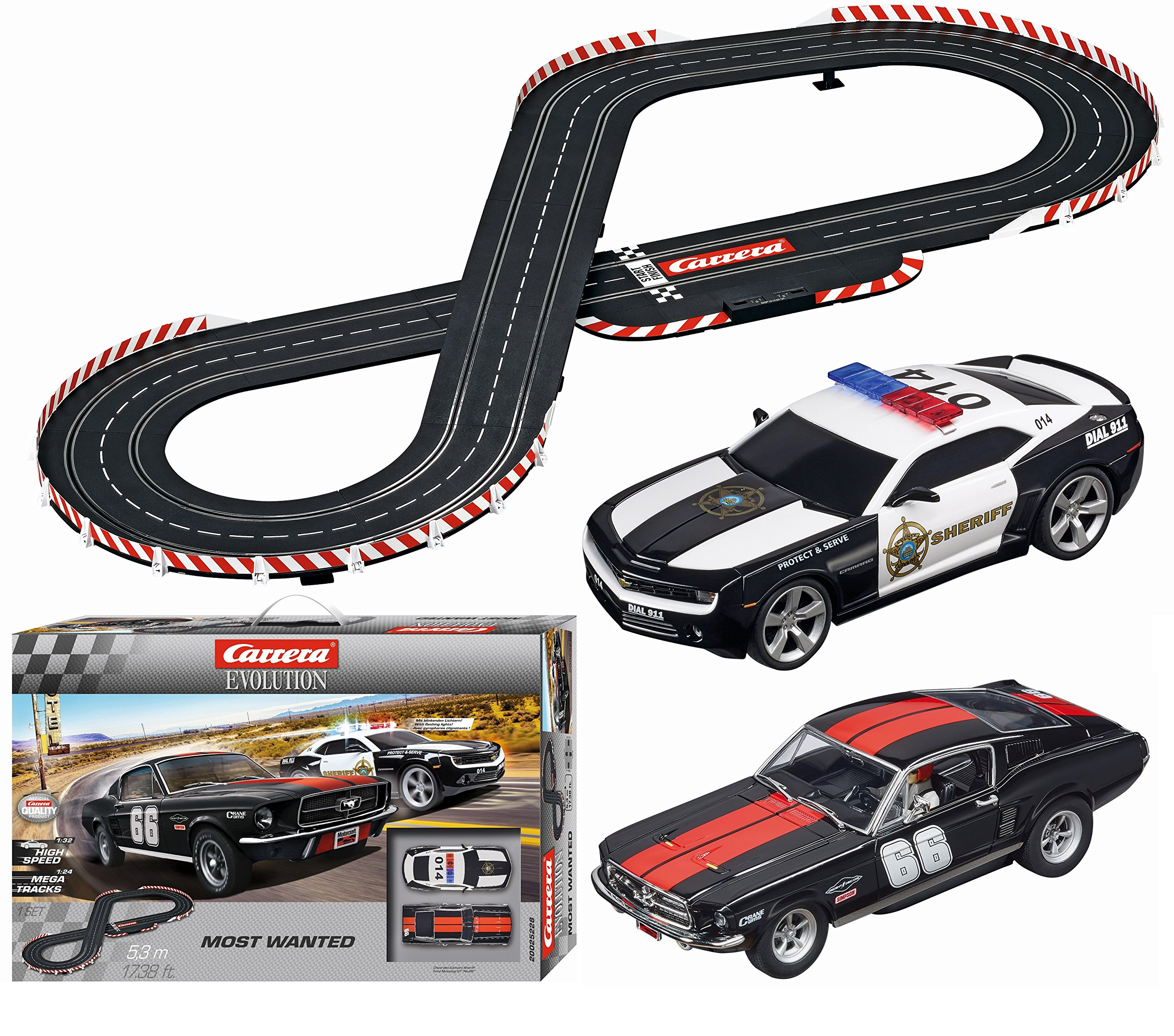 Carrera Evolution Most Wanted Slot Car Race Set 1:24 Scale Analog Track System - Includes Two 1:32 Scale Cars: Chevrolet Camaro Sheriff and Ford Mustang GT No. 66 - 2 Dual-Speed Controllers Ages 8+ by Carrera