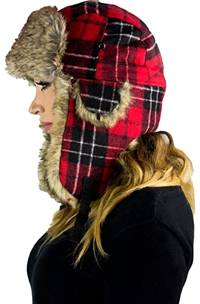 0e74acd4915e8 Soft Luxury Trapper Hat with Secure Click-Lock in Red Scottish ...