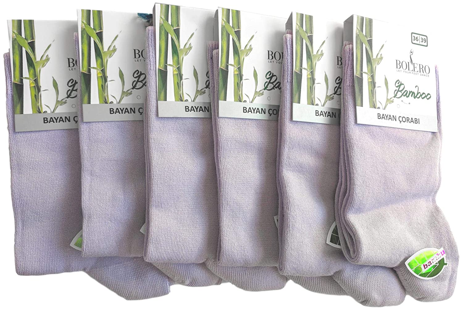 (6 Pairs) purplec Soft Bamboo Casual Crew Socks Made From Luxurious Turkish Antibacterial Bamboo Yarn