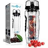 AquaFrut 32 OZ Fruit Infuser Water Bottle BPA-Free Fruit Infusion Sports Bottle - Flip Top Lid w Drinking Spout, Leak Proof,