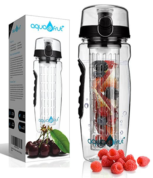 AquaFrut 32 OZ Fruit Infuser Water Bottle (Multiple Colors) BPA-Free Fruit Infusion Sports Bottle - Flip Top Lid w Drinking Spout, Leak Proof, Made of Durable Tritan. Free Recipe eBook!
