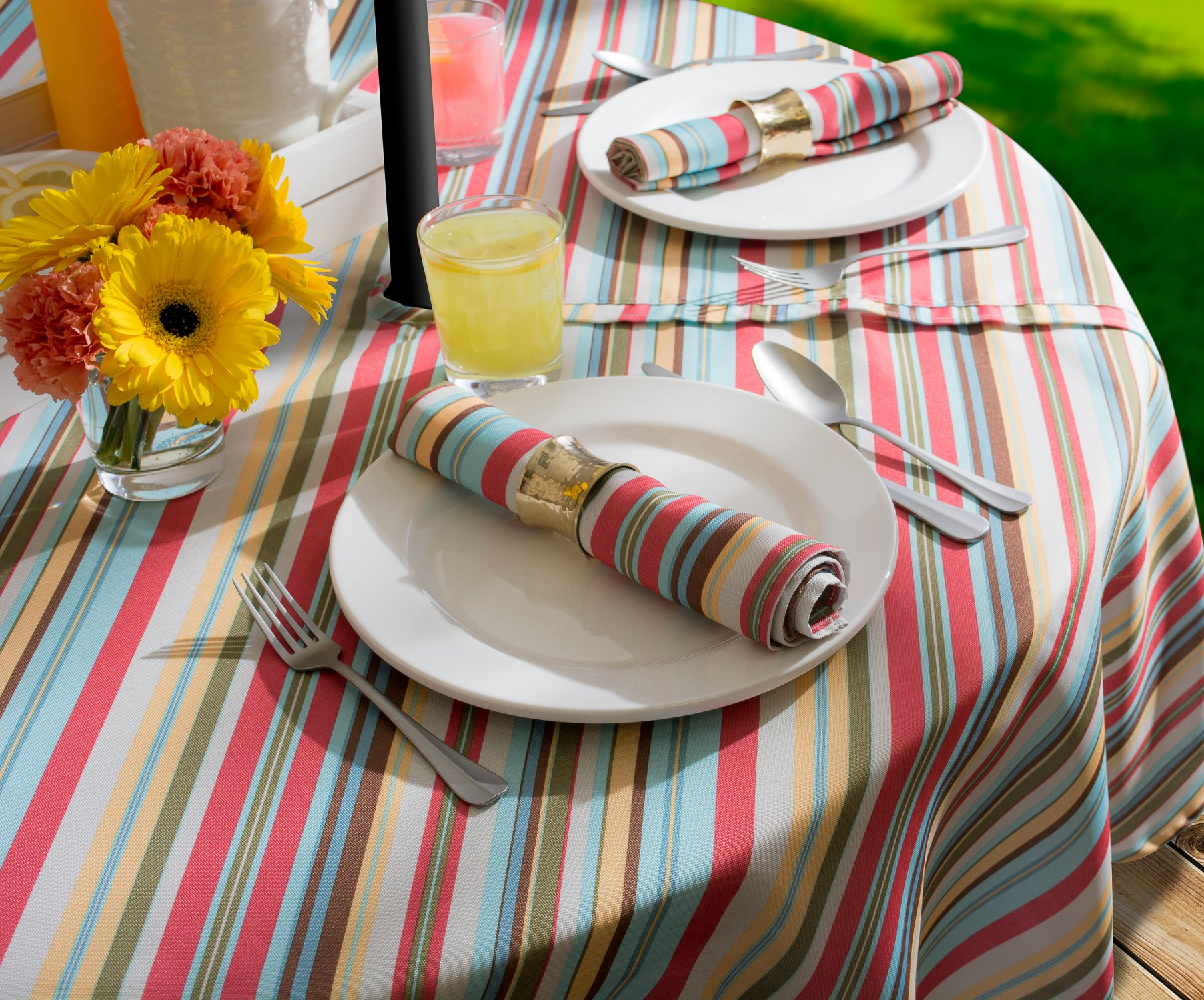 DII Spring & Summer Outdoor Tablecloth, Spill Proof and Waterproof with Zipper and Umbrella Hole, Host Backyard Parties, BBQs, & Family Gatherings - (60x84'' - Seats 6 to 8) Warm Summer Stripe by DII (Image #8)