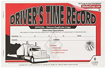 J J  Keller 8529 Driver's Time Record Deluxe Log Book