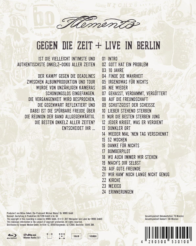 Böhse Onkelz Memento Gegen Die Zeitlive In Berlin Blu Ray Amazon