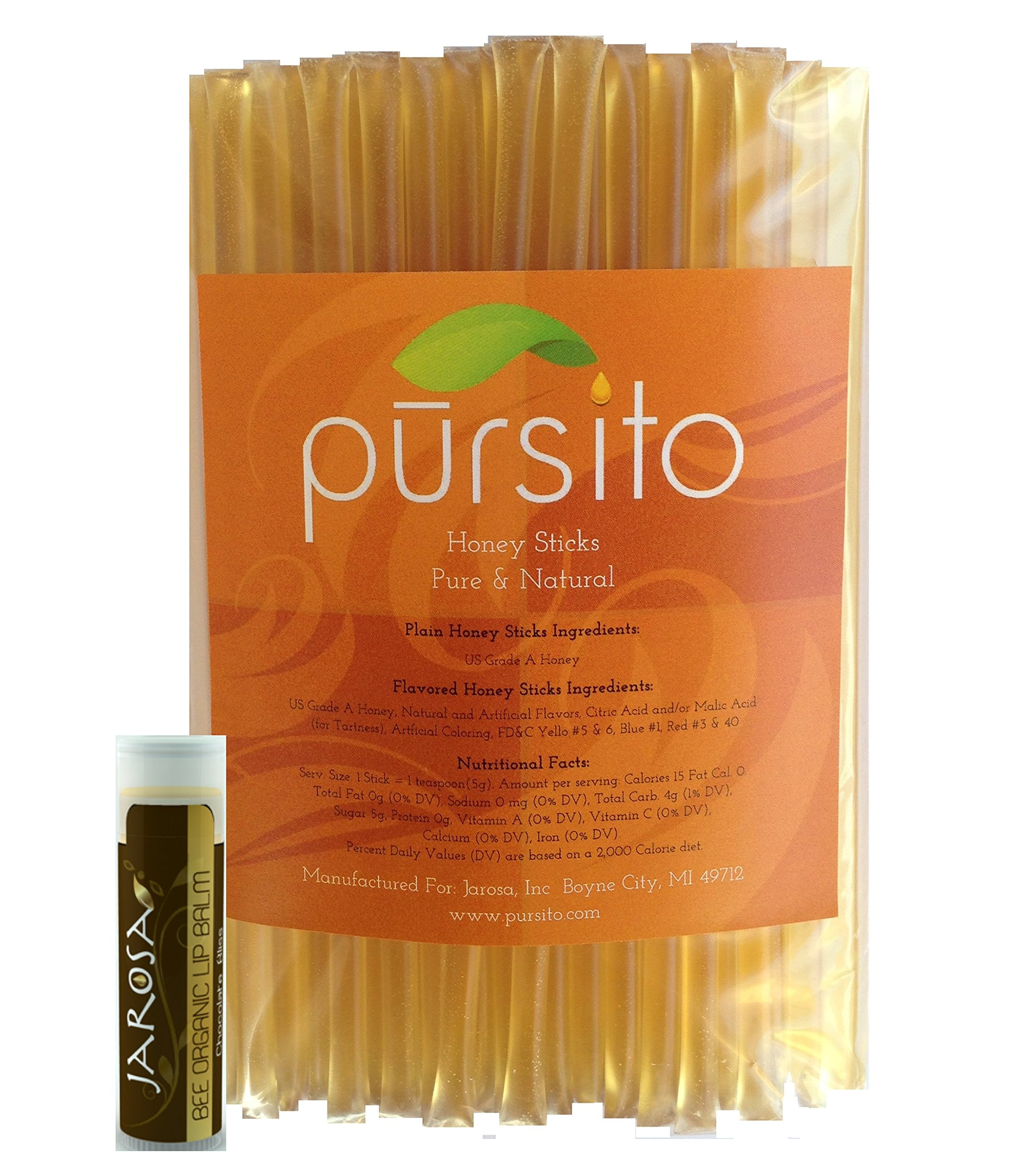 Natural LEMON Color Free Honey Sticks - Set of 100 Pursito Brand Pure & Natural Bulk Honey Stix or Honey Straws Honey Stick for Tea, Coffee or Snacking with a Jarosa Organic Chocolate Lip Balm by Pursito (Image #1)