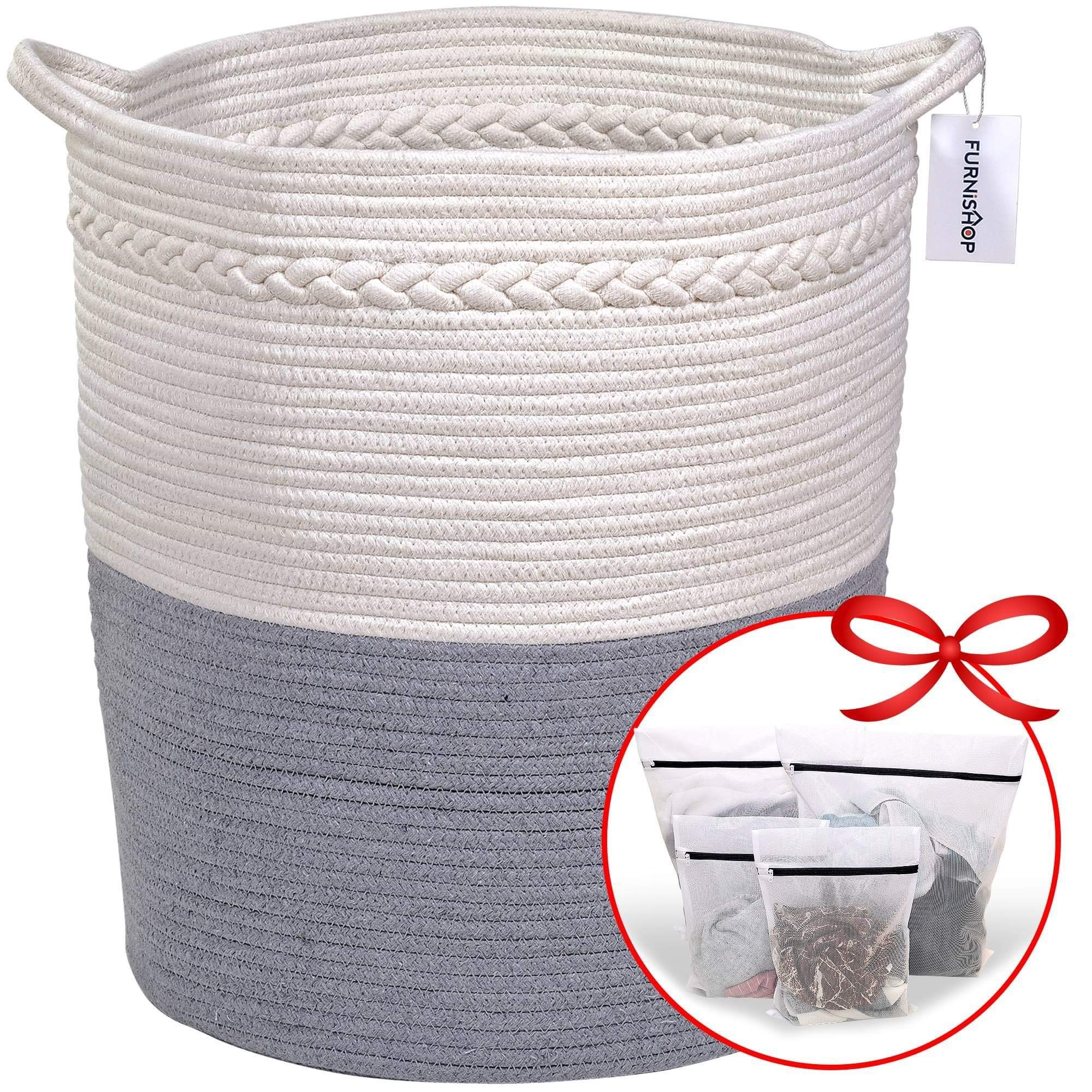 FURNISHOP Cotton Rope Basket for Blankets | 18''x16'' Extra Large Storage Baskets for Toys, Pillow, Baby Laundry | Decorative Woven Blanket Basket for Living Room, Kids Nursery | Includes 4 Laundry Bags
