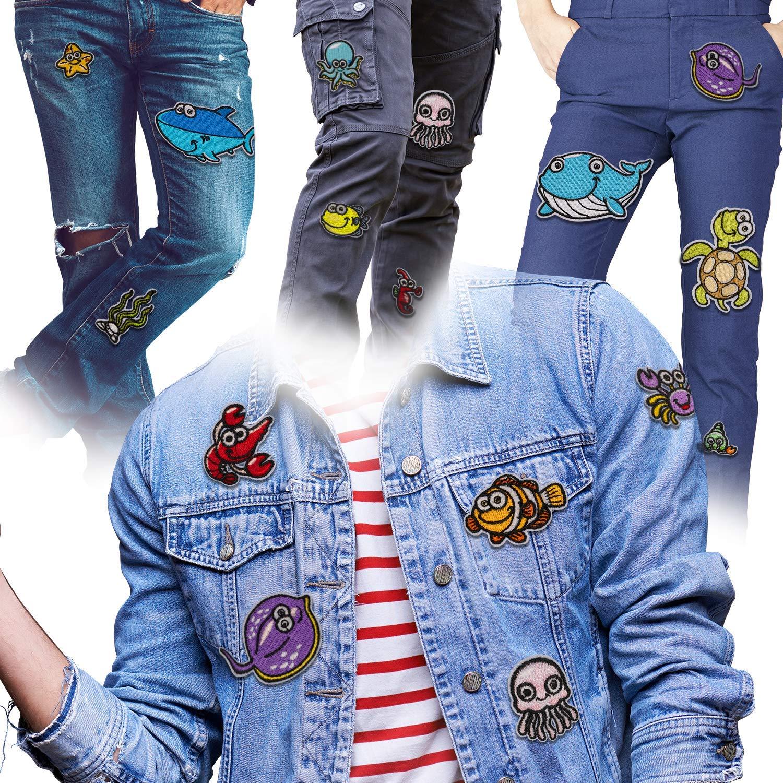 MUSCCCM Parches Ropa 14 Pcs Vida Marina Termoadhesivos DIY Coser O Planchar En Los Parches Apliques para Ropa Camiseta Jeans Sombrero Pantalon Bolsas ...