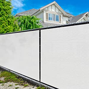 Amgo 6' x 50' White Fence Privacy Screen Windscreen,with Bindings & Grommets, Heavy Duty for Commercial and Residential, 90% Blockage, Cable Zip Ties Included, (Available for Custom Sizes)