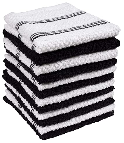 Amazon.com: KAF Home Pantry Piedmont Dish Cloths (Two Sets of 6, 12x12 inches), Absorbent Cotton Terry Towels - Black: Home & Kitchen