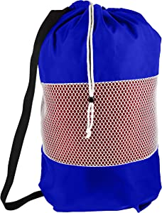B&C Nylon Mesh Perfect College Laundry Bag with Reliable Shoulder Strap-28 X34-100% Nylon, for Heavy Duty Use, College Laundry Bags, Laundromat and Household Storage, Machine Washable (Royal Blue)