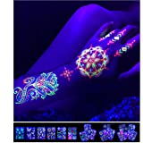 Temporary Tattoos – 1 Sheet Lotus Flower Design Body Paint Art Blacklight Reactive Light Festival Accessories Glow in the Dar