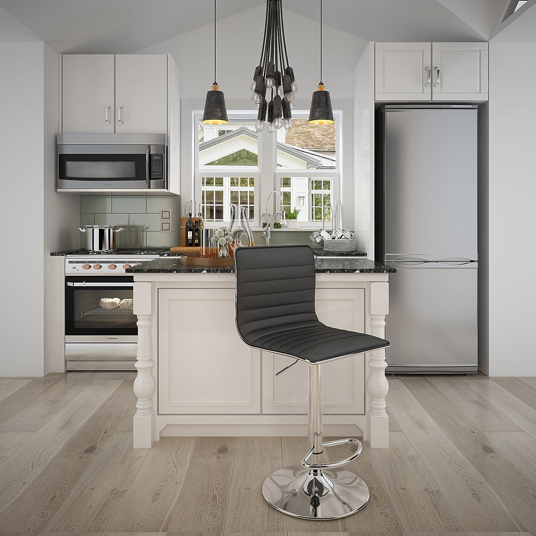 SONGMICS 2 x Breakfast Bar Backs PU Kitchen Stools 360 Swivel Black ULJB65B, 15.75 L x 16.54 W,