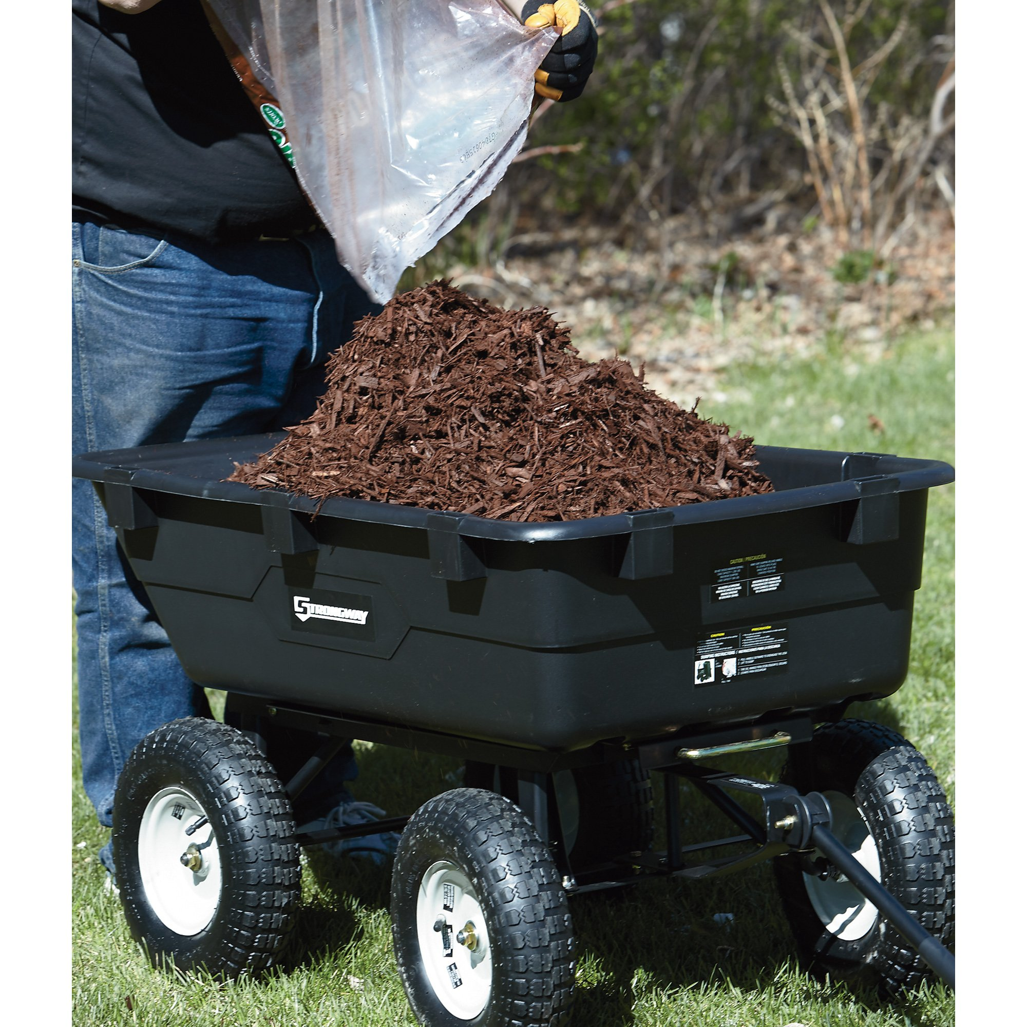 Strongway Dump Cart - 39in.L x 25in.W, 1,200-Lb. Capacity