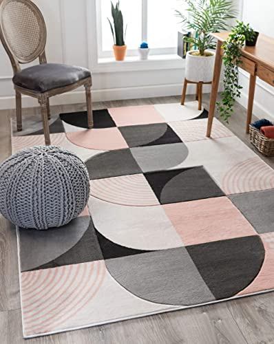Well Woven Maggie Blush Pink Modern Geometric Dots Boxes Pattern Area Rug 5×7 5'3″ x 7'3″