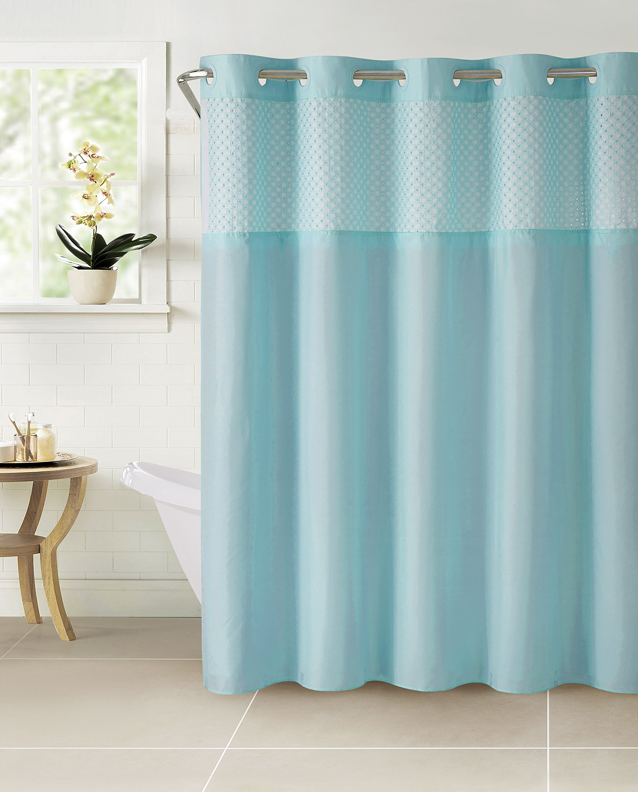 Hookless RBH40MY113 Bahamas Shower Curtain with Peva Liner - Crystal