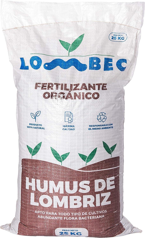 LOMBEC Humus de Lombriz, Saco 25Kg (42L). Fertilizante orgánico, vermicompost 100% Natural. ABONO ecológico Apto para Cualquier Cultivo. Ideal para huertos urbanos. … (25)