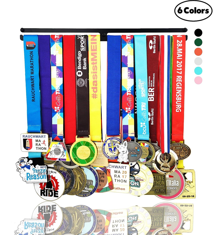 Medal Hanger Awards Holder Display Rack for 60 Medals Use for All Sports Black Steel Medal Hanger Holder,Race Medal Display Holder,Running Medal Hangers,Hanger formedals,Never GIVE UP 2 Lines Black