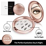 Magnetic Fake Eyelashes Set of 2 – Natural Lashes and Dramatic Lashes – Complete Falsies Kit for Day and Night – 2 Pairs of Reusable False Lashes + FREE Cosmetic Mirror Carrying Case by Golden Way