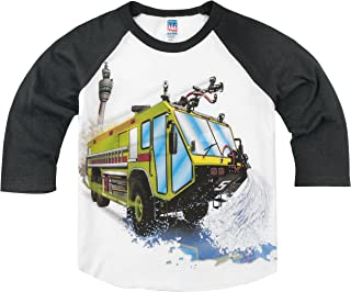 product image for Shirts That Go Little Boys' Big Airport Fire Truck Raglan T-Shirt