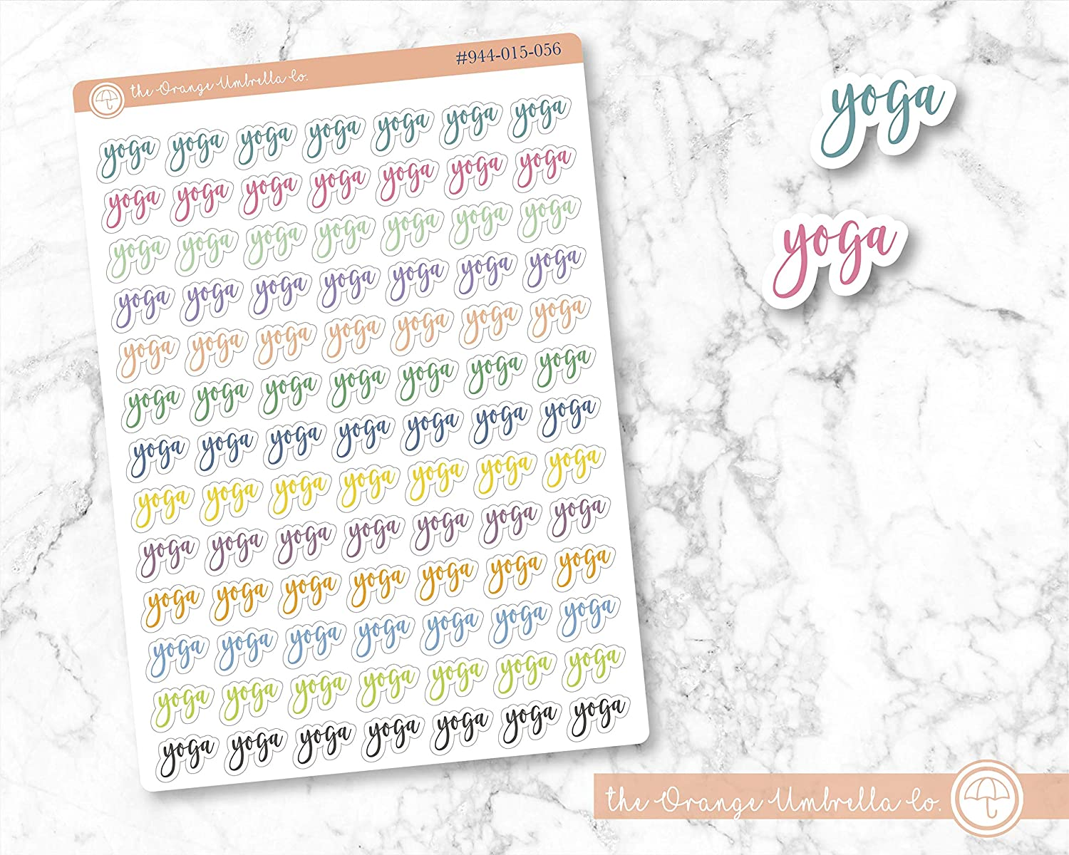 Yoga Label Planner Stickers ECLP Colored Planner Stickers ScriptYoga Labels #944-015-056-WH