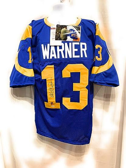 pretty nice db38d 299a8 Kurt Warner St Louis Rams Signed Autograph Blue Custom ...