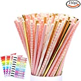 LoveS 150 Pack Biodegradable Paper Straw for Birthdays, Weddings, Baby Showers, Celebrations and Parties (Pink)