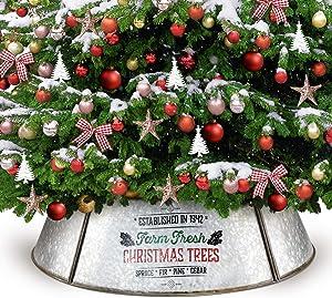 KIBAGA Farmhouse Christmas Tree Collar for Large Trees - Authentic Easy Set Up 35