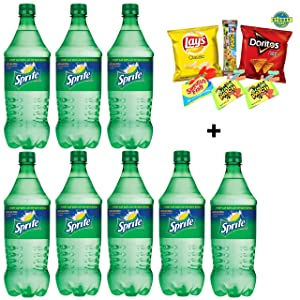 Sprite Lemon Lime Soda, 20 Oz Bottle (Pack of 8, Total of 160 Oz) with FREE Stubby Pubby Care Package Snack Chips & Candy Mix for Schools,Friends & Family, Military,College, Office, Meetings