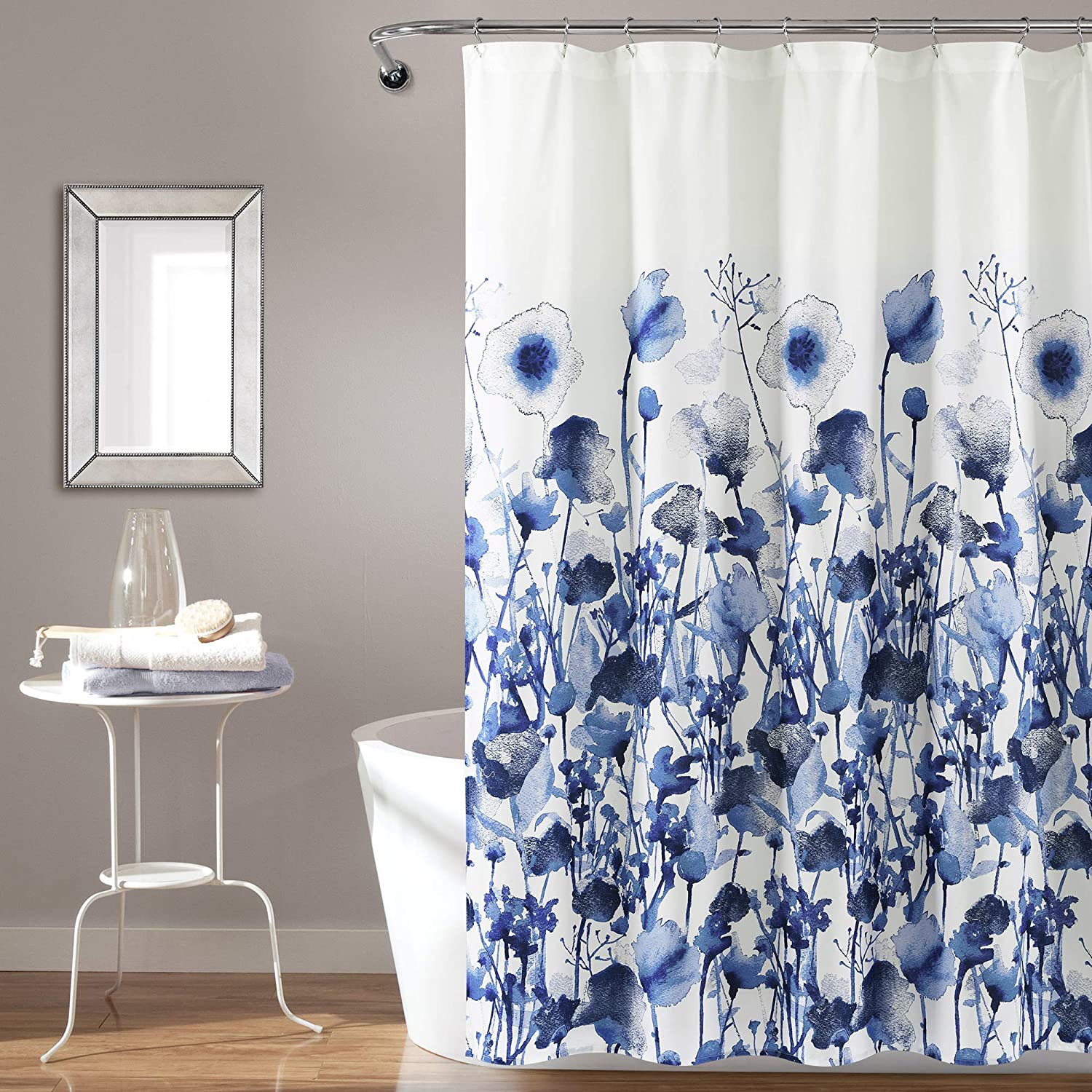 Lush Decor, Navy Zuri Flora Shower Curtain-Fabric Watercolor Floral Print Design, x 72