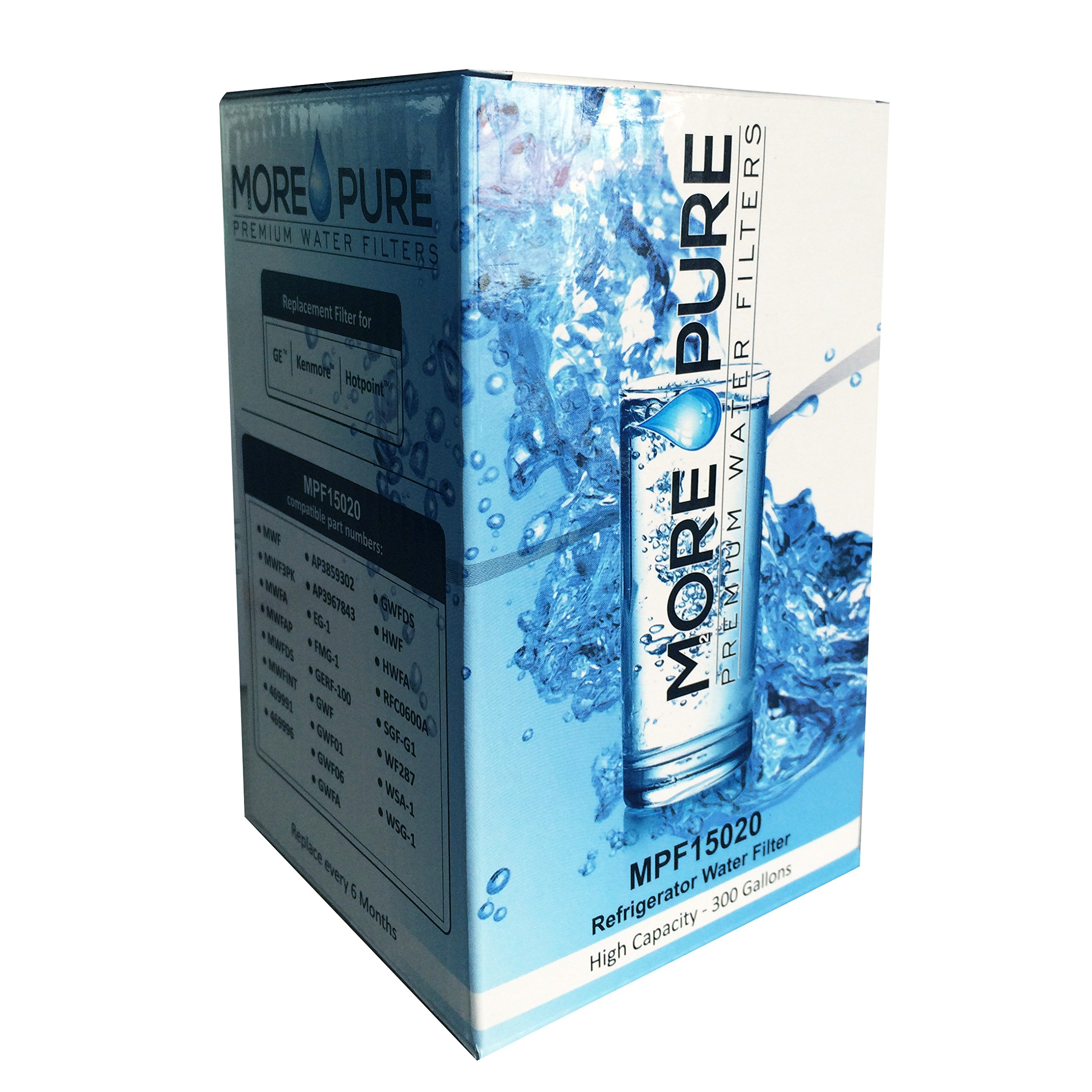 MORE Pure MPF15020 Replacement Refrigerator Water Filter Compatible with GE MWF SmartWater