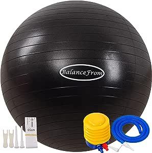 BalanceFrom - Pelota de ejercicio antideslizante y antiexplosiones, pelota de yoga, pelota de fitness, pelota de nacimiento con bomba rápida, capacidad de 2.000 libras