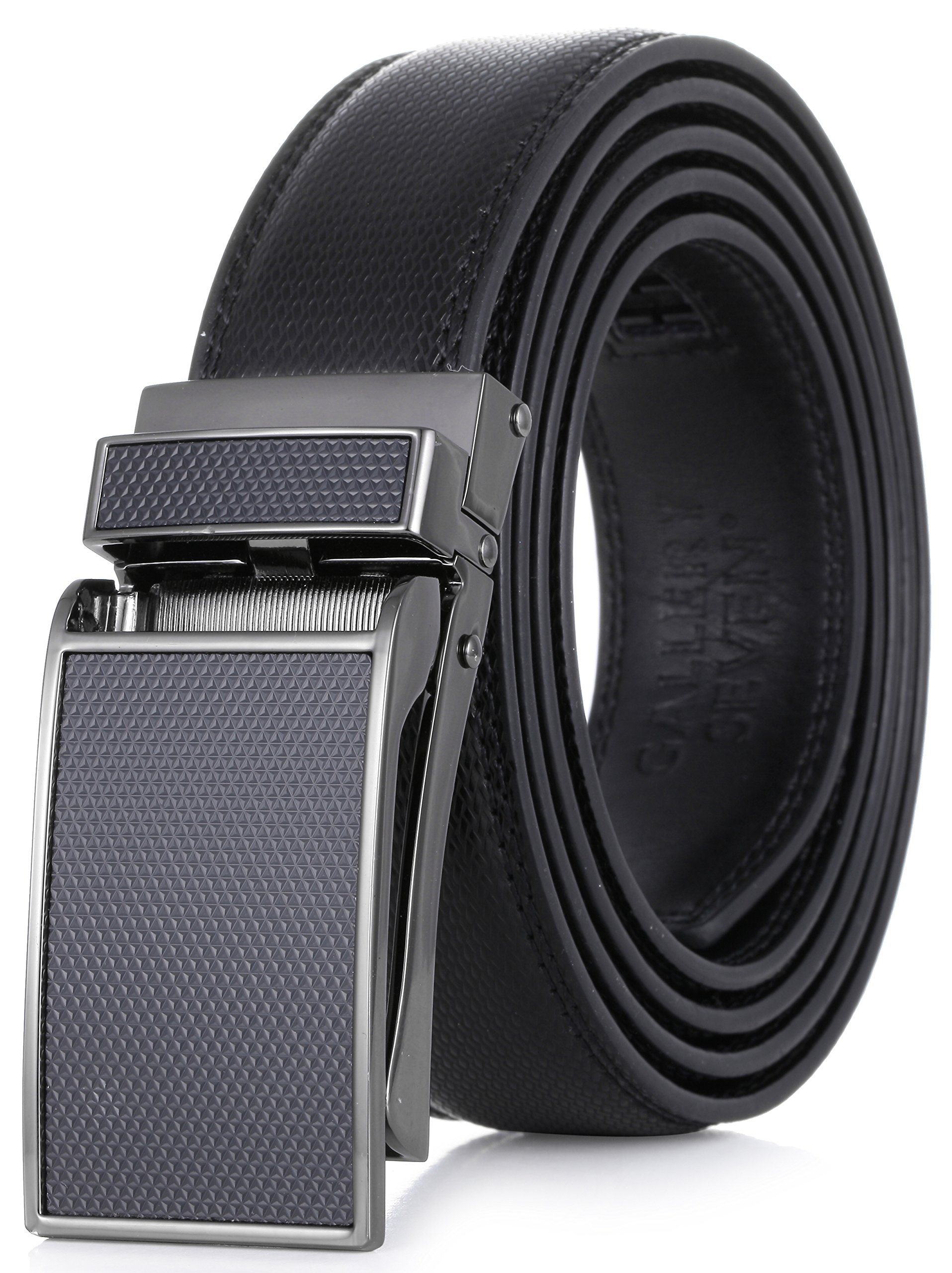 Gallery Seven Leather RatchetBelt For Men - Adjustable Click Belt - Casual Dress Belt - Black - Style 10 - Adjustable from 38'' to 54'' Waist