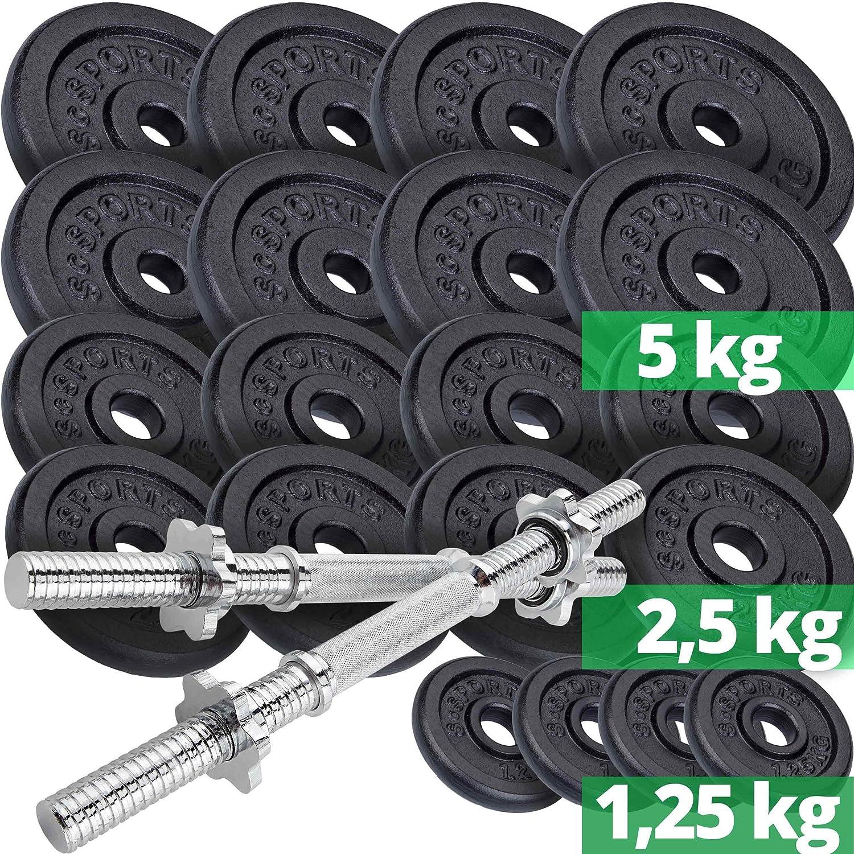 30//31 mm Bohrung und Kurzhantel-Stangen Gewicht f/ür Lang ScSPORTS 25 kg Hantelscheibe Guss