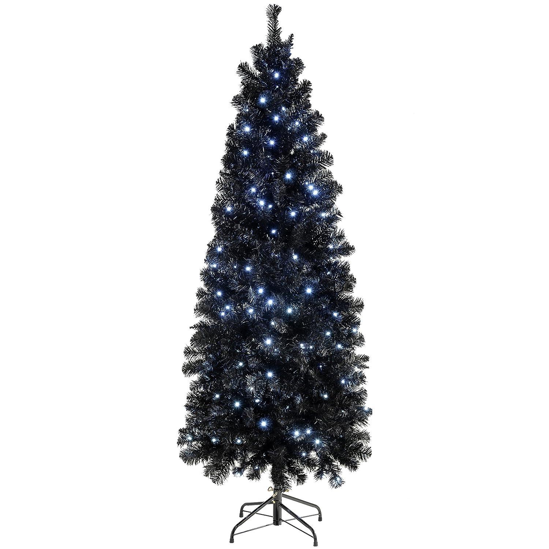 Werchristmas Pre Lit Slim Christmas Tree With 200 White Led Lights