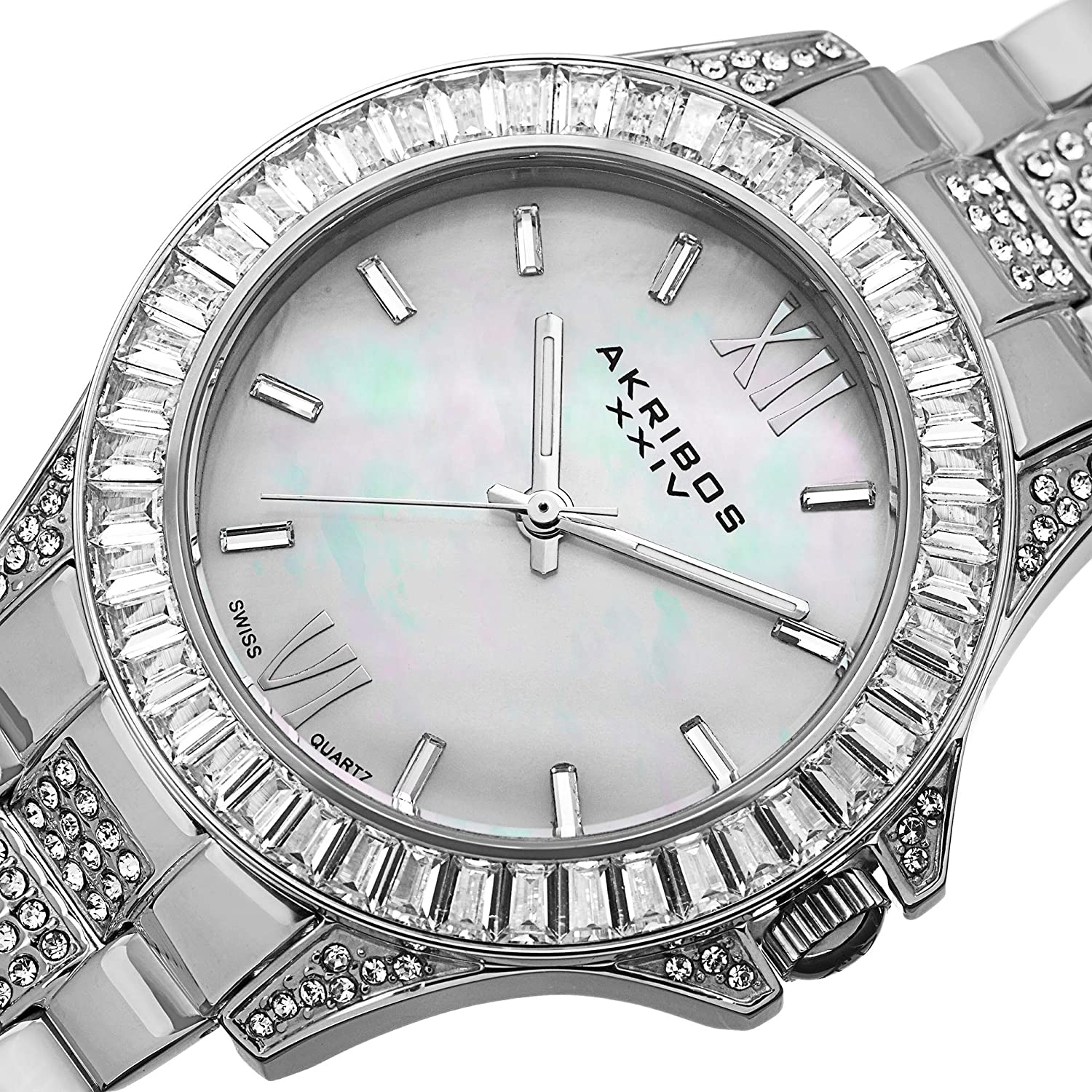 Akribos XXIV Women's 'Impeccable' Swiss Quartz Watch - Mother-of-Pearl Dial Large Baguette Crystals Bezel On Stainless Steel Bracelet - AK670 Stainless Steel